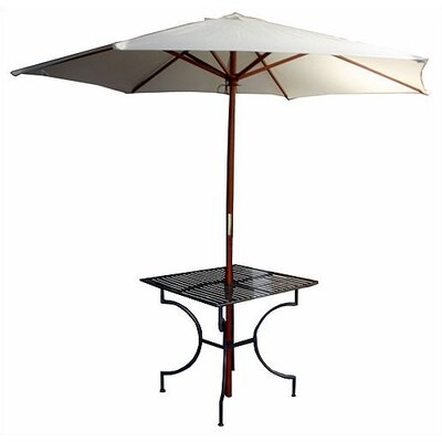 "Pangaea Folding Easy to Assemble Iron Square Dining Table with 2"" Umbrella Holder - Finish: Black at Sears.com"