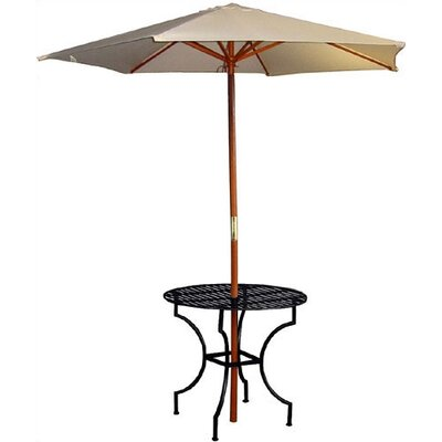 Easy to Assemble Iron Round Dining Table with 2.75 Umbrella Holder Finish: Black