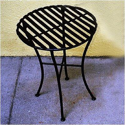 Folding Iron Round Side Table Finish: Black