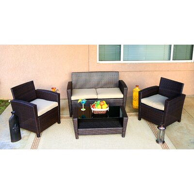 Roosevelt 4 Piece Lounge Seating Group with Cushion