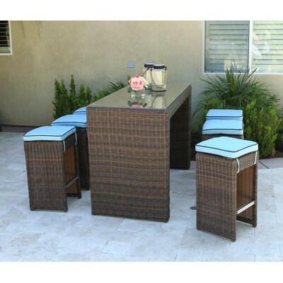 Edwige 7 Piece Bar Set with Cushion Cushion Color: Blue