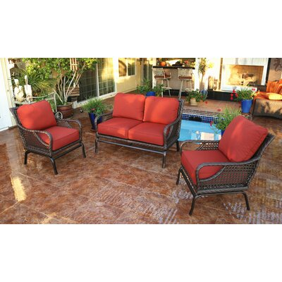 Shawny 3 Piece Rattan Sofa Set with Cushions