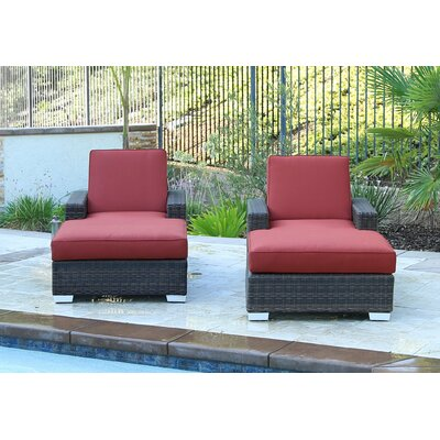 Arcadia Double Sun Lounger Set Group with Cushion Cushion Color: Canvas Henna