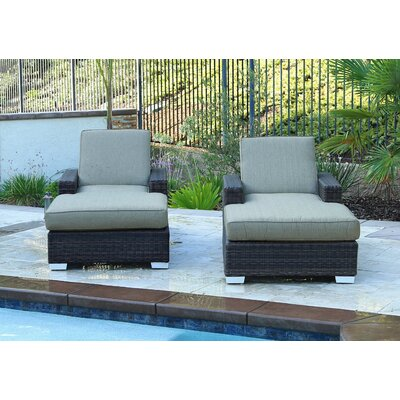 Arcadia Double Sun Lounger Set Group with Cushion Cushion Color: Linen Pampas
