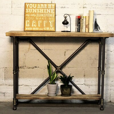 Houston Console Table Finish: Brushed Brass Gray/Natural