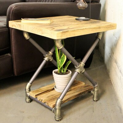 Houston End Table Finish: Brushed Brass Gray