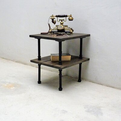 Cissell Industrial Chic End Table Table Base Color: Black, Table Top Color: Dark Brown