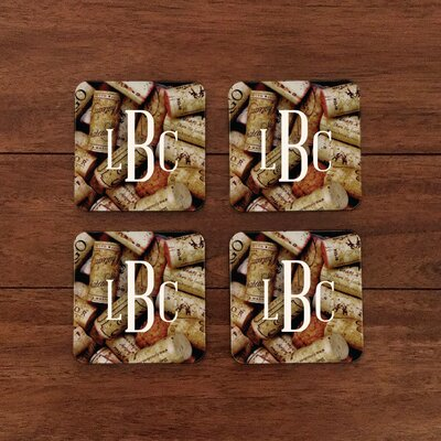 Personalized Wine Cork Monogram Coaster WF-3-101