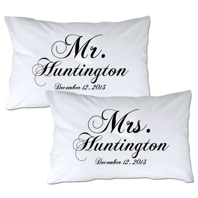 Personalized Mr & Mrs Pillowcase Color: Black