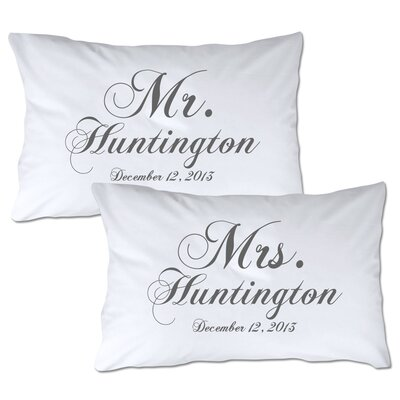 Personalized Mr & Mrs Pillowcase Color: Blue
