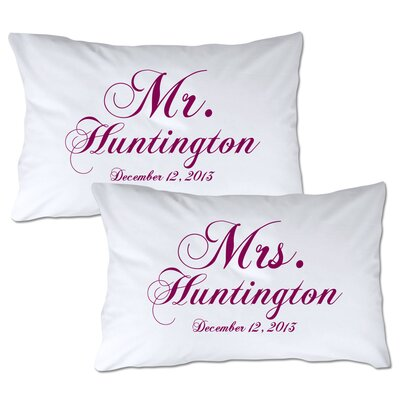 Personalized Mr & Mrs Pillowcase Color: Berry