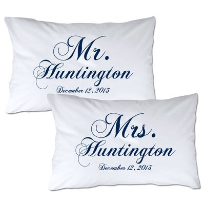 Personalized Mr & Mrs Pillowcase Color: Navy