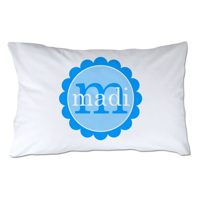 Personalized Scallop Circle Pillowcase Color: Blue