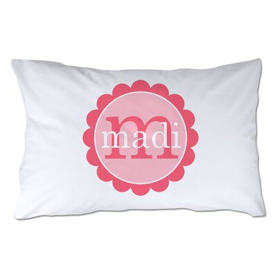 Personalized Scallop Circle Pillowcase Color: Coral