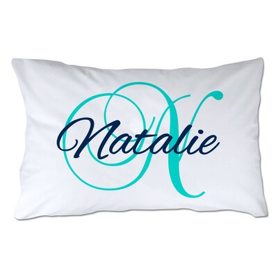 Personalized Script Name & Initial Pillowcase Color: Turquoise