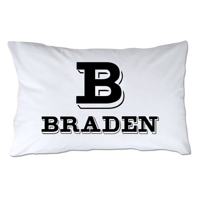 Personalized Block Initial & Name Pillowcase Color: Black