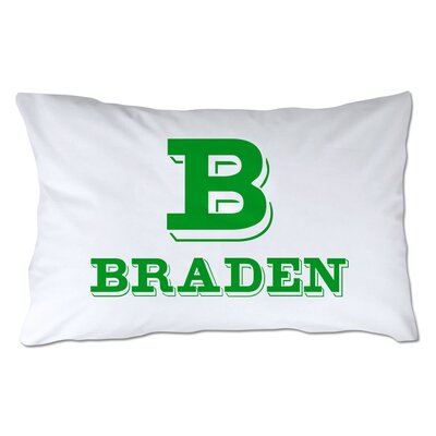 Personalized Block Initial & Name Pillowcase Color: Green