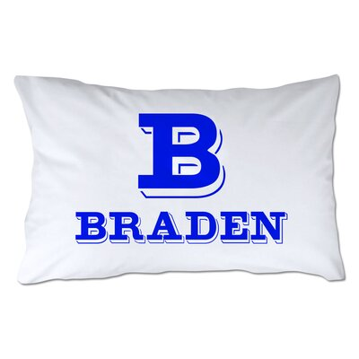 Personalized Block Initial & Name Pillowcase Color: Royal
