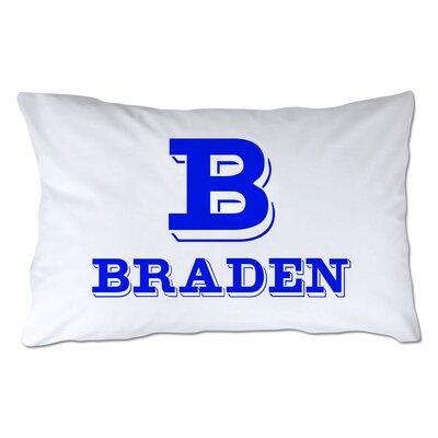 Personalized Block Initial & Name Pillowcase Color: Royal