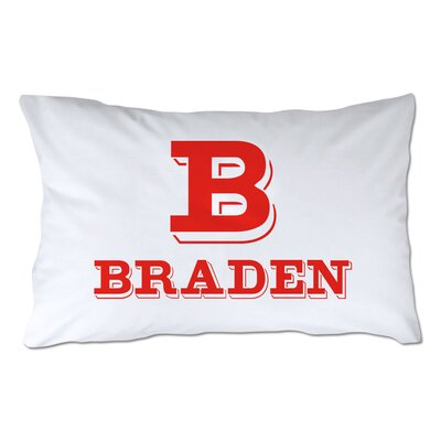 Personalized Block Initial & Name Pillowcase Color: Red
