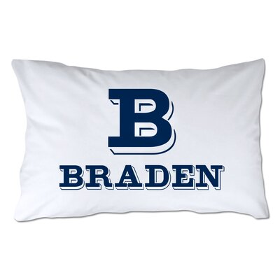 Personalized Block Initial & Name Pillowcase Color: Navy