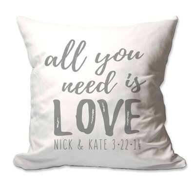 Personalized All You Need is Love Throw Pillow Color: Charcoal