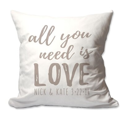 Personalized All You Need is Love Throw Pillow Color: Taupe