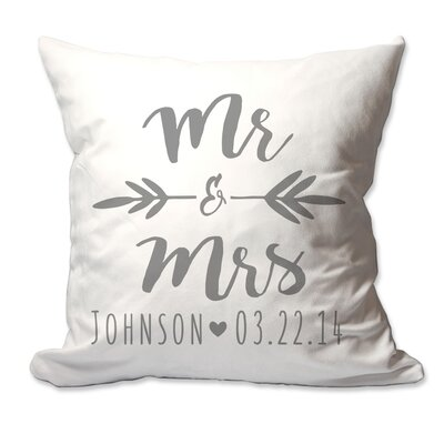 Personalized Brush Script Mr & Mrs Throw Pillow Color: Charcoal