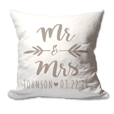 Personalized Brush Script Mr & Mrs Throw Pillow Color: Taupe