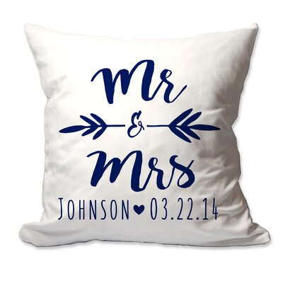 Personalized Brush Script Mr & Mrs Throw Pillow Color: Navy