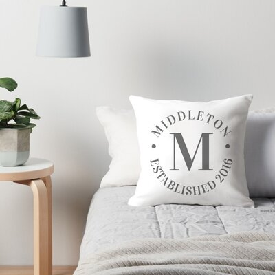 Personalized Circle Family Name and Year Throw Pillow Color: Charcoal