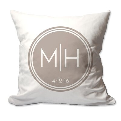 Personalized Couples Initials in Circle Throw Pillow Color: Taupe