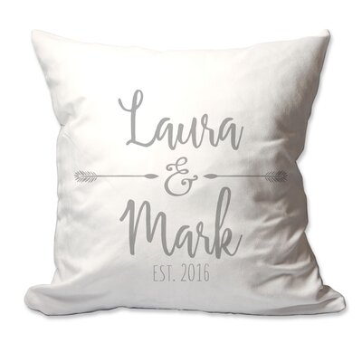 Personalized Couples Names with Arrows Throw Pillow Color: Gray