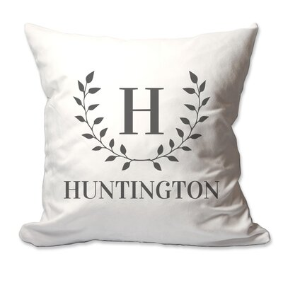 Personalized Family Initial and Name Laurel Wreath Throw Pillow Color: Gray