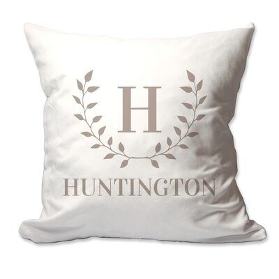 Personalized Family Initial and Name Laurel Wreath Throw Pillow Color: Taupe