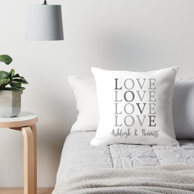 Personalized Love with Couples Names Throw Pillow
