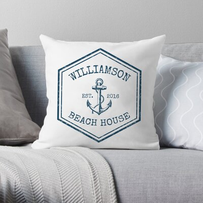 Personalized Beach House Throw Pillow