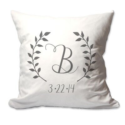Personalized Initial and Date Laurel Wreath Throw Pillow Color: Charcoal