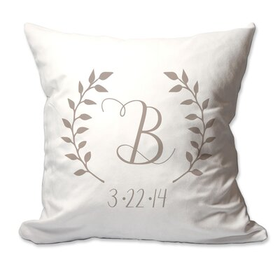 Personalized Initial and Date Laurel Wreath Throw Pillow Color: Taupe