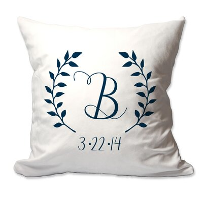 Personalized Initial and Date Laurel Wreath Throw Pillow Color: Navy