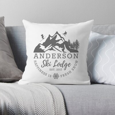 Personalized Ski Lodge Throw Pillow
