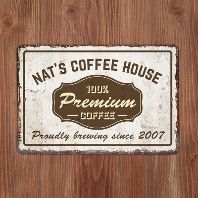 Personalized Distressed Vintage-Look Coffee House Textual Art on Metal