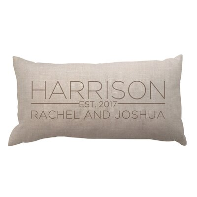 Family and Couples Names with Date Textured Linen Lumbar Pillow