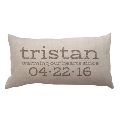 Warming Our Hearts with Name and Date Textured Linen Lumbar Pillow
