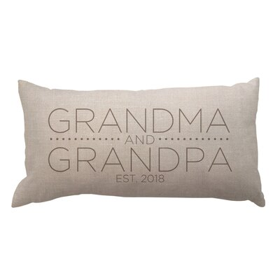 Grandma and Grandpa with Date Textured Linen Lumbar Pillow