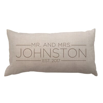 Mrs. and Mrs. with Date Textured Linen Lumbar Pillow