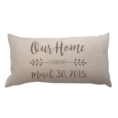 Our Home and Date Textured Linen Lumbar Pillow