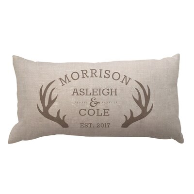 Antlers with Couples Names and Date Textured Linen Lumbar Pillow