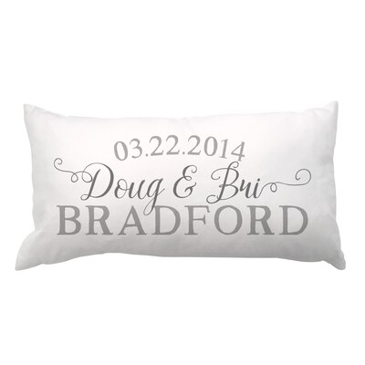 Script Couple and Family Name with Date Lumbar Pillow