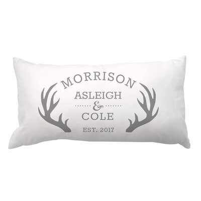 Antlers with Couples Names and Date Lumbar Pillow
